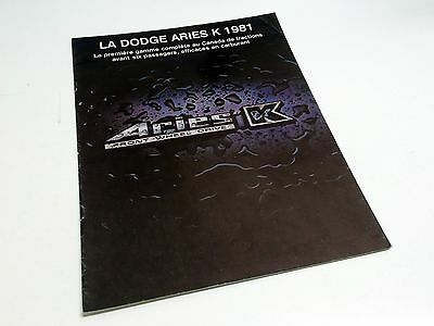 1981 Dodge Aries K Brochure - French