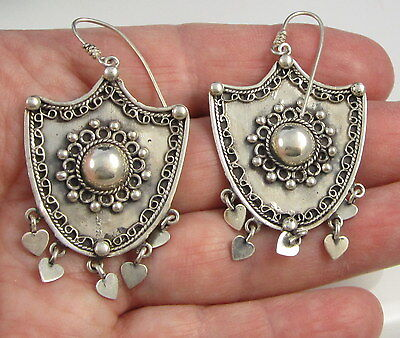 Estate Vintage Stunning HUGE Sterling Silver Shield 12.3 Gram Pierced Earrings