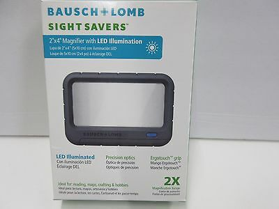 "Bausch & Lomb Magnifier Sight Savers 2""x4"" LED Illumination 2X Mag Range"