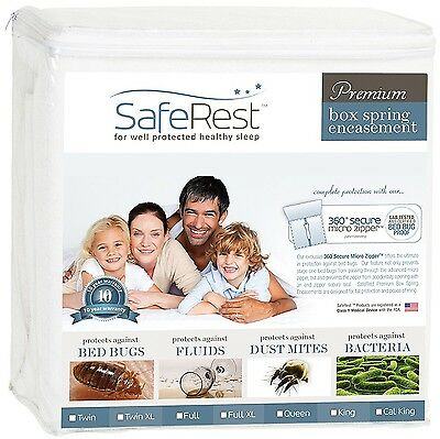 Full Size SafeRest Waterproof Lab Certified Bed Bug Proof Zippered Box Spring...