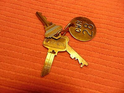 vintage  round brass tag Number 28 CWR  and hook with 3 keys