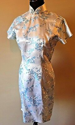 Vtg 1950s Imperials Blue Brocade Cheongsam Qipao Asian Dress sz S Hong Kong DS2