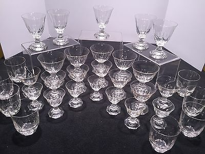 Vintage Moser Cut Crystal Glass Stem Goblet Luxury High End Bar Set  Bohemian
