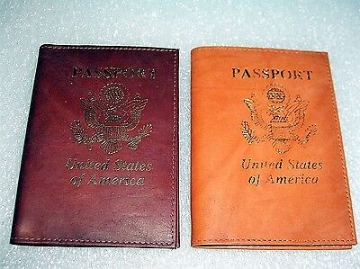 2 Passport Holders Genuine Leather Travel Id Wallet Case  Tan And Burgundy