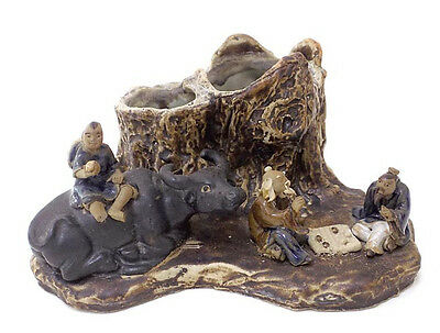 Chinese Ceramic Stump Brush Pencil Pot Holder Ox Mud Figures Playing Game