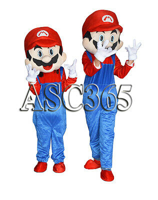 Cosplay Red Super Mario Cartoon Clothing Mascot Costume Fancy Dress Halloween