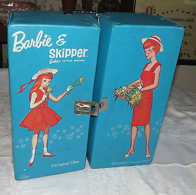 Barbie & Skipper Blue Double Carrying Case Mattel Vintage 1964
