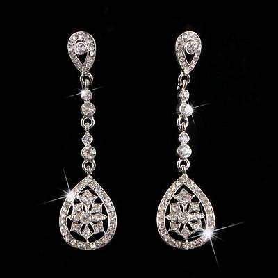 Bridal Clear Crystal Teardrop Earrings Long Chandelier For Wedding