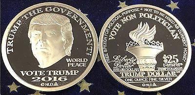 2016 Trump Dollar 1 oz .999 Silver $25 Norfed BU Round Type II Proof-Like Coin
