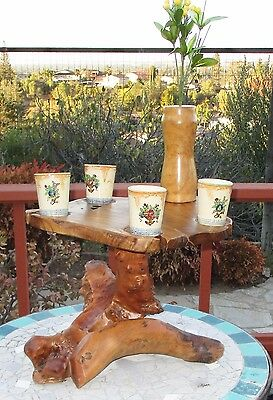 Nakashima Style Carved Burl Maple wood Root Trunk end Tea table Lamp stand OOAK!