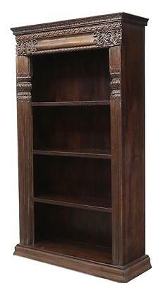 Antique British Colonial Carved Bookcase, Early 1900s