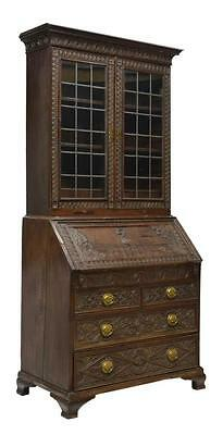 ENGLISH GEORGIAN CARVED OAK BUREAU and BOOKCASE , 18TH C ( 1700s )
