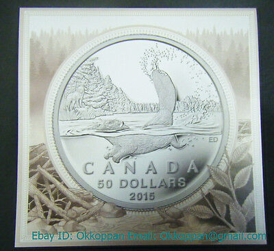 2015 Canada $50 Beaver .9999 Fine $50 for $50 Silver coin dollar Proof