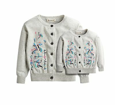 Family Matching Clothing Cotton Family Look Mother Daughter Sweaters Embroidery