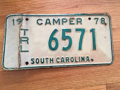 SOUTH CAROLINA SC vintage Collectible License Plate Tag Camper Trailer 1978