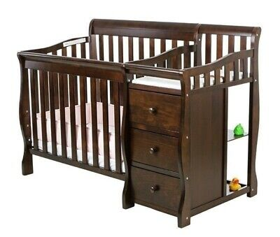 Espresso Mini Size Convertible 4-in-1 Crib Bed Baby Toddler Nursery Changer Side