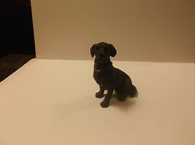 "Miniature Dollhouse  1:12"" Scale Resin Sitting Dog Chocolate Lab with Red Collar"