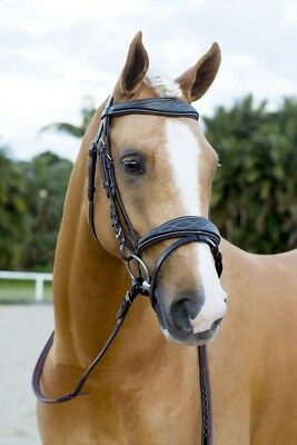 NEW Brown Fancy Stitch SNAFFLE BRIDLE WITH REINS - Pony Cob Full WB - FREE P&P!