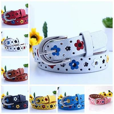 Child Kids Candy Color Faux Leather Band Flower Belt With Buckles Waistband