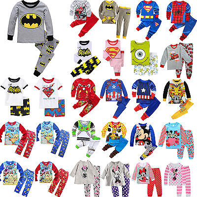 Toddler Kids Boys Girls Cartoon Sleepwear Baby Cotton Nightwear Pj's Pyjamas set