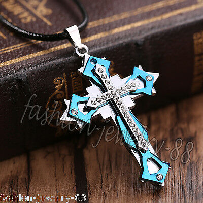 Unisex's Men Blue Silver Stainless Steel Crystal Cross Pendant Necklace Chain