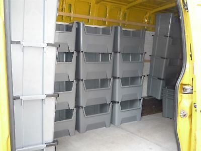 Van Shelving Plastic Storage Bins Boxes With Scooped Front X 5
