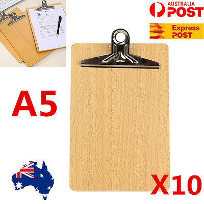 10x Wooden A5 Clipboard Hardboard Menu Cafeshop Board With Clip Office School AU
