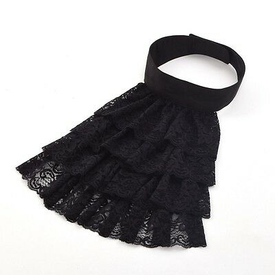Victorian Steampunk Jabot Collar  Edward Detachable Lace Black Ruffle Collar