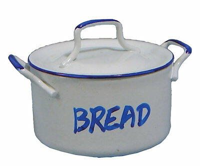 1:12 Scale White Enamel Metal Bread Pot Dolls House Miniature Kitchen Accessory