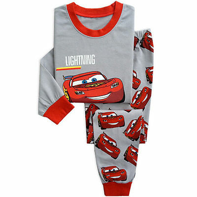 Fashion Cartoon Sleepwear Baby Kids Boys Girls Cotton Nightwear Pj's Pyjamas set