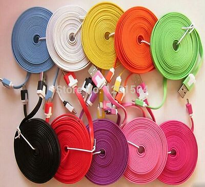 lot 100/3ft Quality Flat Noodle Usb Data Charger Cable For Apple iPhone 5/6/6s/7