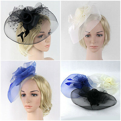 Women Wedding Races Sinamay Fascinator Church Derby Feather Veil Hair Clip Hat