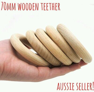 1 large unfinished natural wooden 70mm round ring DIY teething craft baby bunny