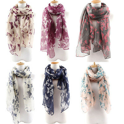 Women's Soft Butterfly Long Neck Voile Wrap Shawl Pashmina Stole Scarf Eager