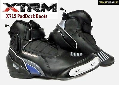 Xtrm X715 Paddock Ankle Short Motorbike Motorcycle Scooter Moped City Boots Blue