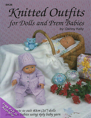 NEW Knitted Outfits For Dolls & Prem Babies by Denny Kelly.