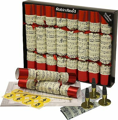 Deluxe Musical Christmas Crackers with Whistles Inside - Red & White (box of 8)
