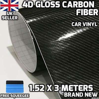 4D Gloss Carbon Fibre Vinyl Wrap Car 1.52M x 3M, Air/bubble Free,Roll,Sticker,UK