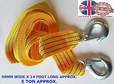4 Mtr Tow Towing Pull Rope Strap Heavy Duty Road 5 Tonne 5T Car Van 4x4 Recovery