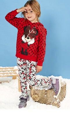 New Girls Disney Minnie Mouse 100% Cotton Red Sequin Bow Hoody Hoodie 7-8 Years