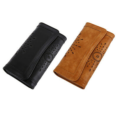 Stylish Vintage Women PU Leather Clutch Purse Carved Hollow Ladies Wallet AU