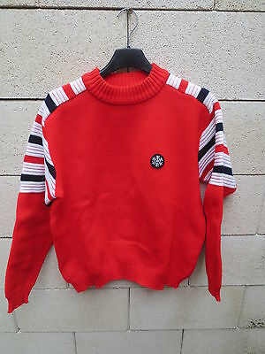 VINTAGE Pull ski LEDUC made in France 1980 rouge montagne collection S / M