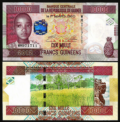 Guinea 10000 10,000 Francs 2012 Uncirculated P.46 Wm Serial