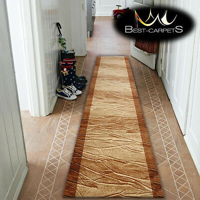 Thick Hall Runner OPTIMAL KMIN BEIGE Width 67-120cm STRIPED extra long soft RUGS