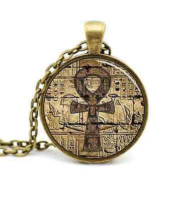 New Egyptian Hieroglyphic Pendant Necklace Ankh Eternal Life Character Cross Key