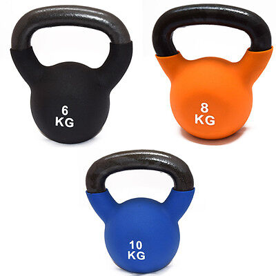 FXR SPORTS CAST IRON SET OF 6/8/10kg KETTLEBELLS WITH RUBBER SLEEVE HOME GYM
