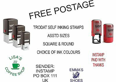 personalised rubber stamp round or square self inking name logo address company