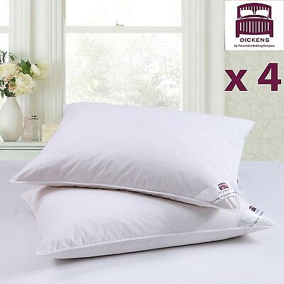 """4 Dickens """"limited Offer"""" Goose Feather Down Pillows Extra Filling Hotel Quality"""