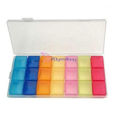 Portable Weekly 7 Days 21 Compartments Tablet Pill Medicine Box Holder Organizer