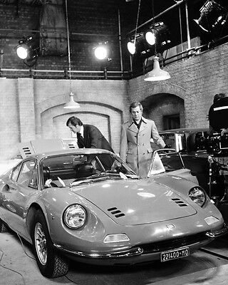 The Persuaders! Roger Moore Tony Curtis with Ferrari Dino car in garage on set 8
